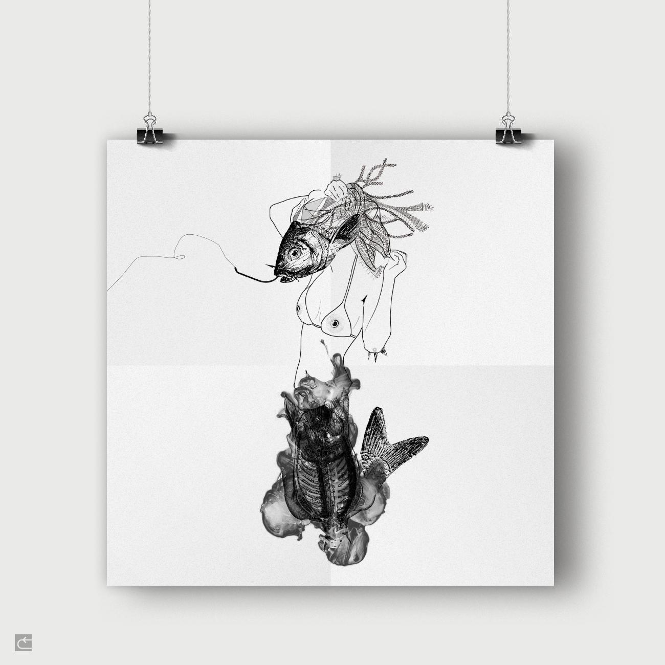 Ilustración: FishSiren. Mítica Fanzine © moversinmover. Ilustraciones, Arte emergente